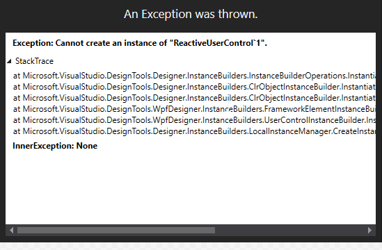 Cannot create an instance of