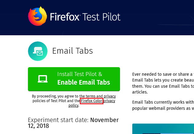 Experiment details] Email Tabs page wrongly mentions