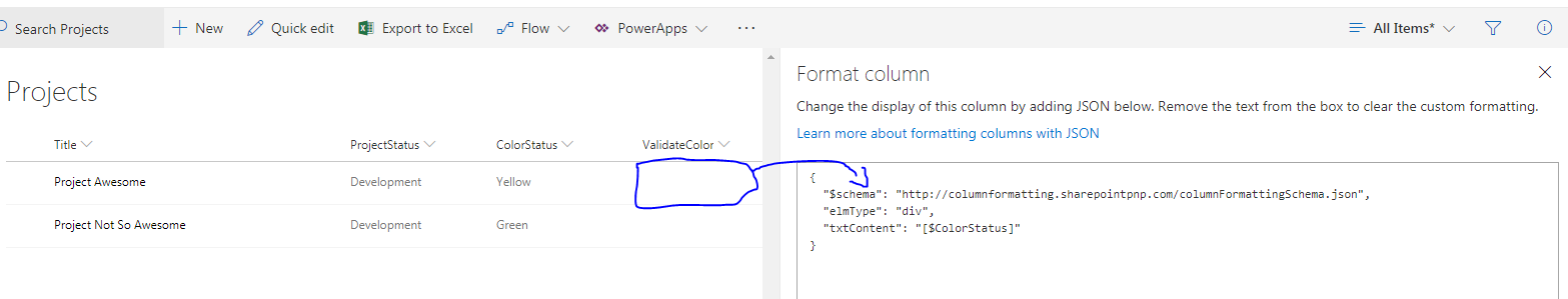 JSON formatting column - Values from other columns does not