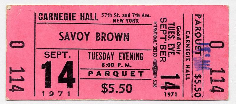 Ticket for Savoy Brown concert at Carnegie Hall, September 14, 1971