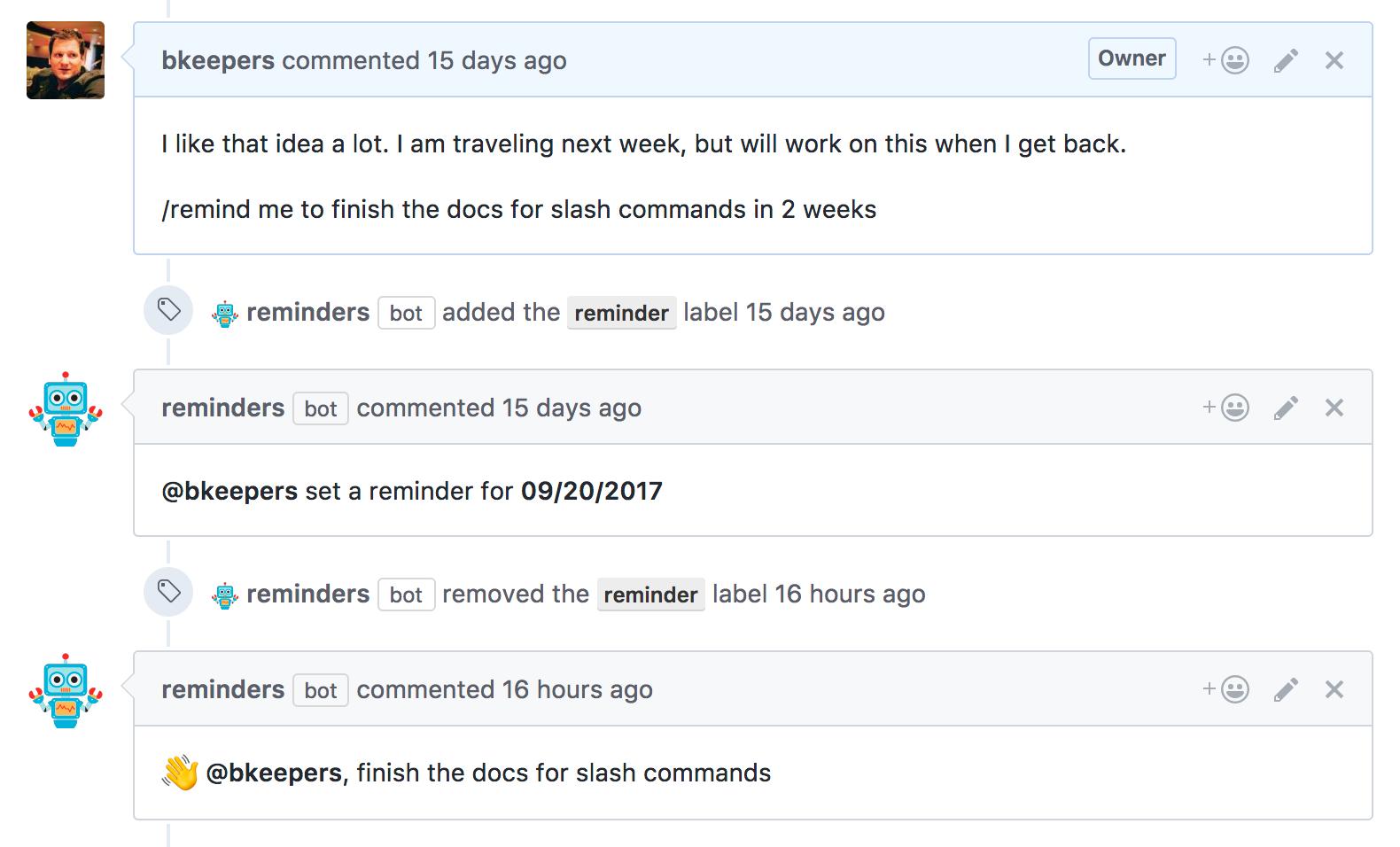 Screenshot of Reminders app