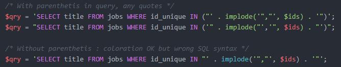 sql statement breaks syntax highlighting · Issue #333 · atom