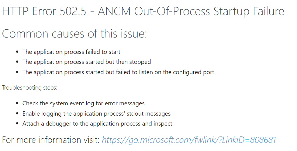 HTTP Error 502 5 - ANCM Out-Of-Process Startup Failure