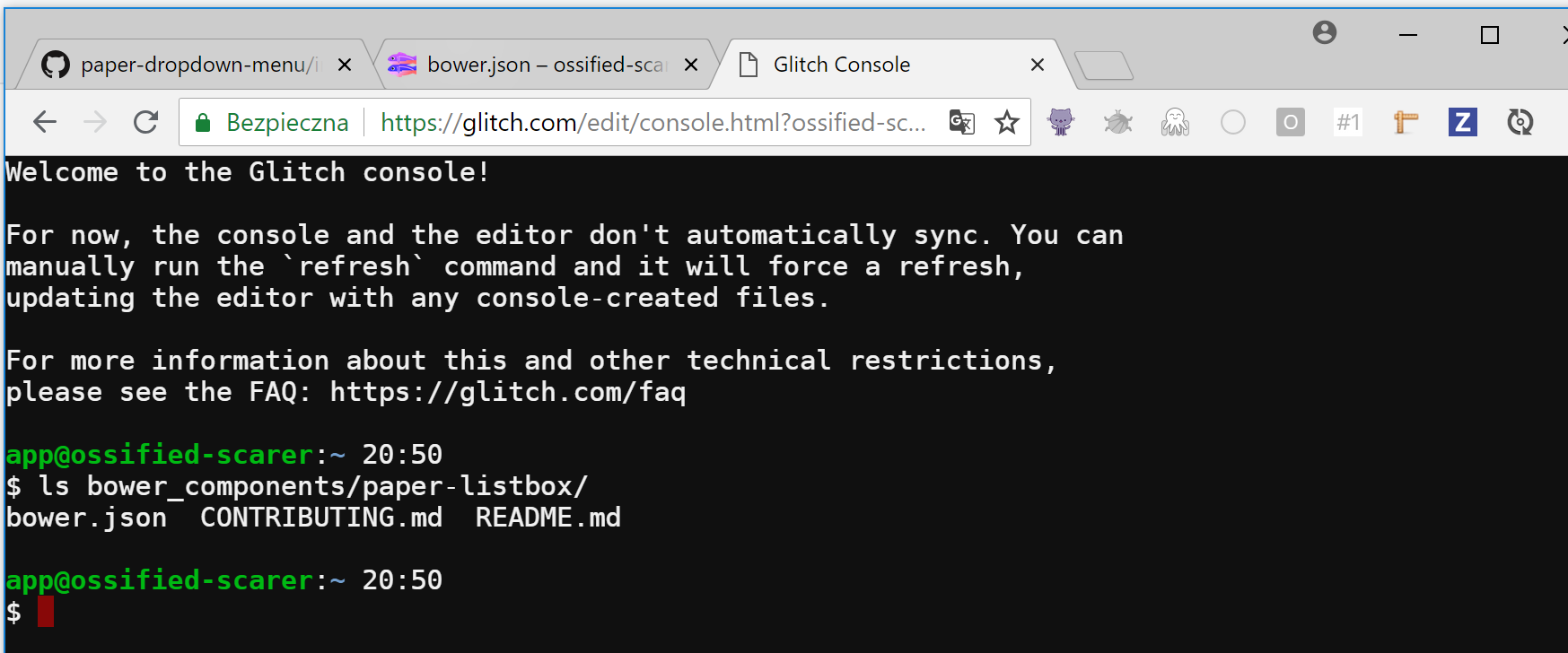 Element not installable on Glitch · Issue #53