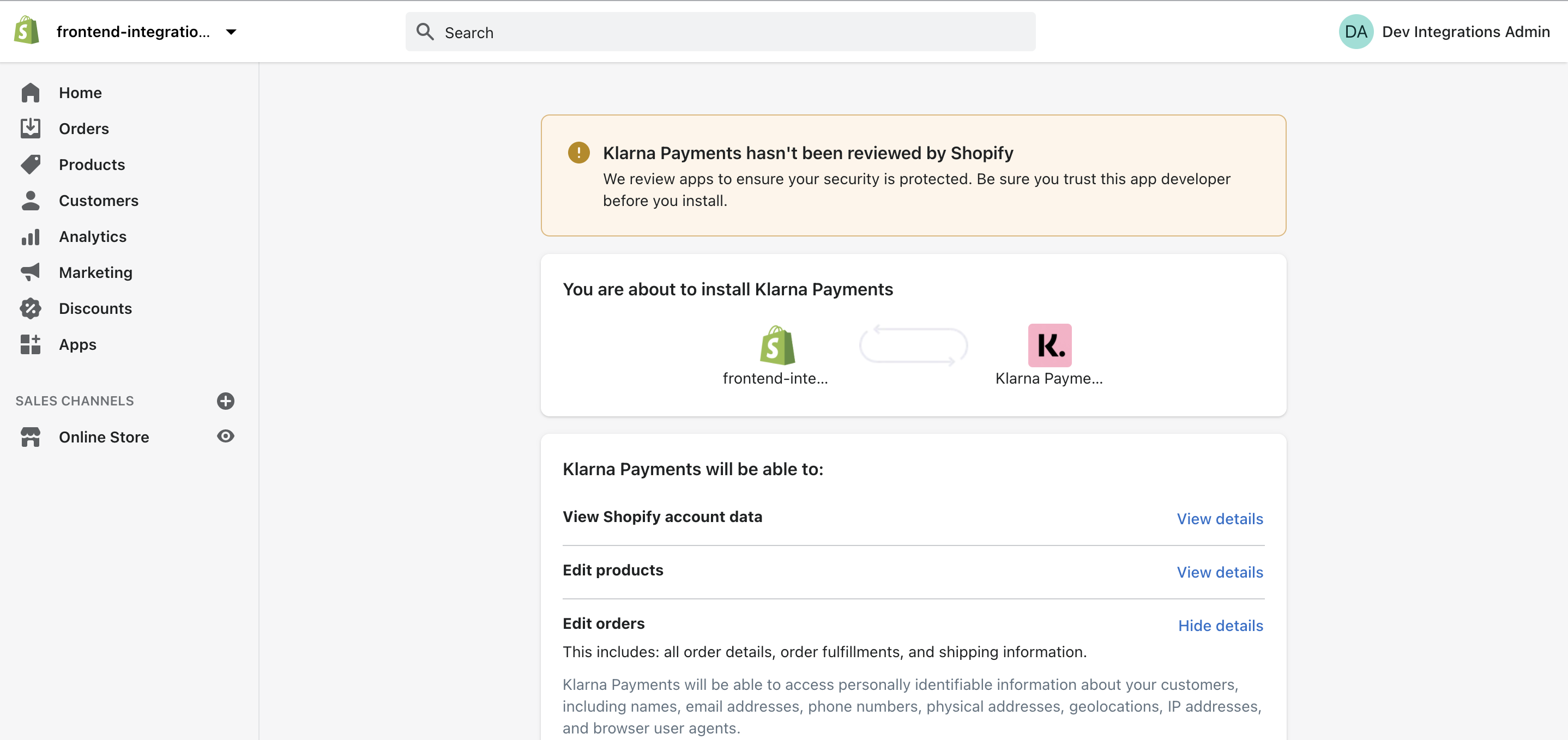 Follow instructions for shopify