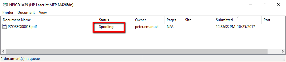 Cannot print a single page of multi-paged PDF file - Printer status