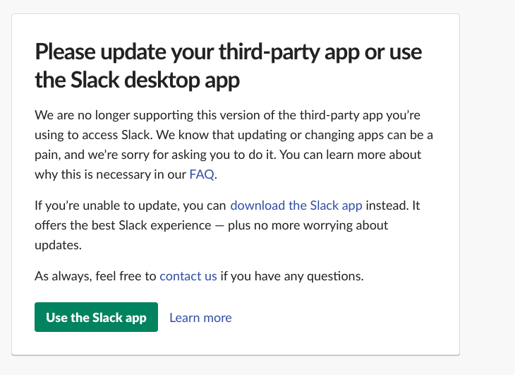 Slack Update Please Update Your Third Party App Or Use The Slack Desktop App Issue 1347 Meetfranz Franz Github