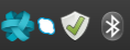 System Tray icons for Ring, Skype, Update Manager, Bluetooth