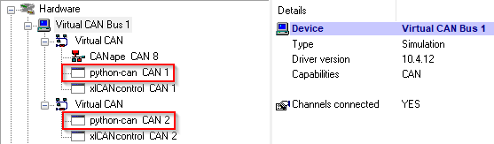 Messages sent to both Vector virtual CAN channels when