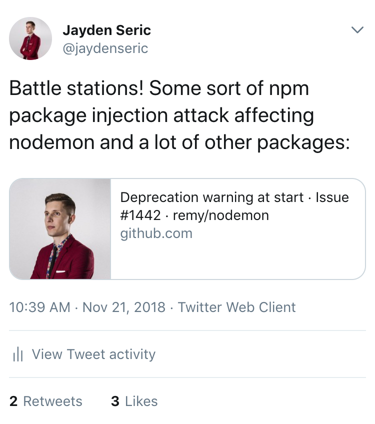 @jaydenseric's tweet on Nov 21 2018