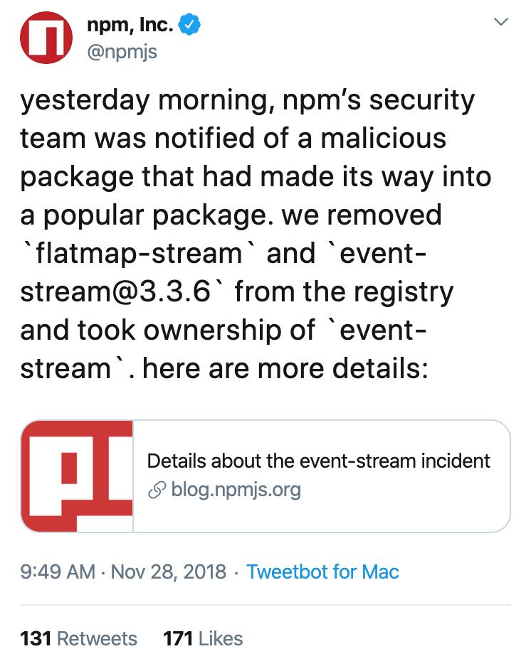@npmjs's tweet on November 28, 2018