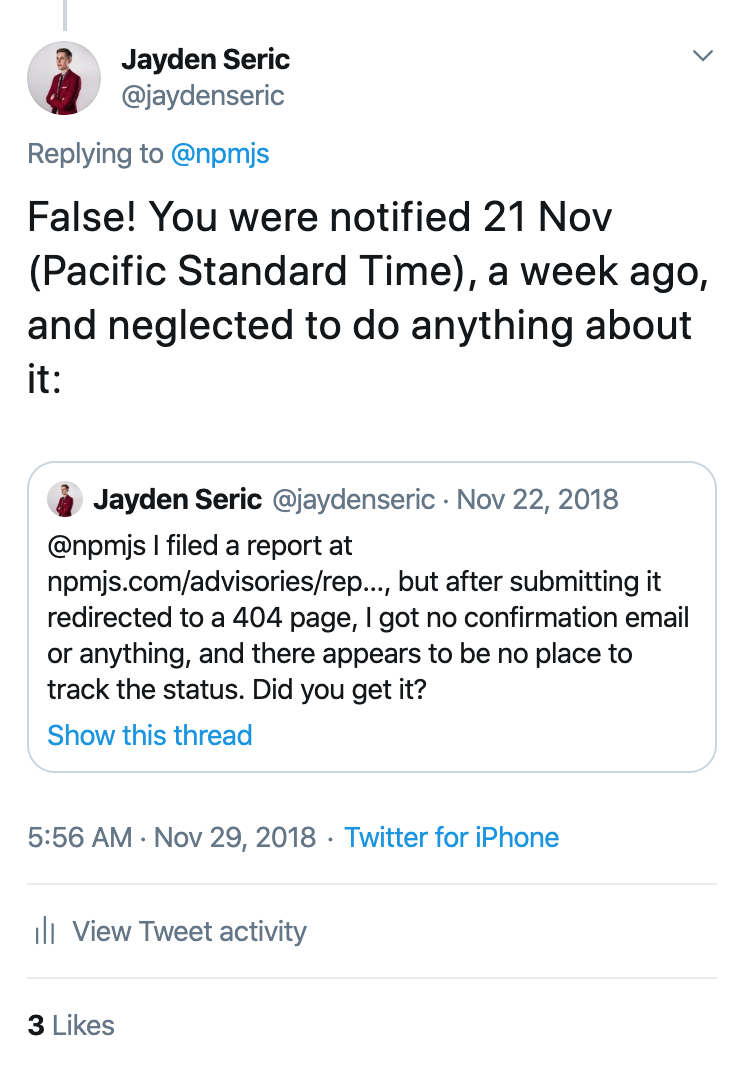 @jaydenseric's tweet on November 29, 2018
