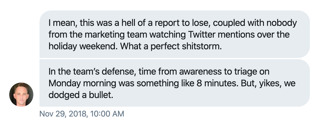 @cowperthwait's direct message on November 29, 2018