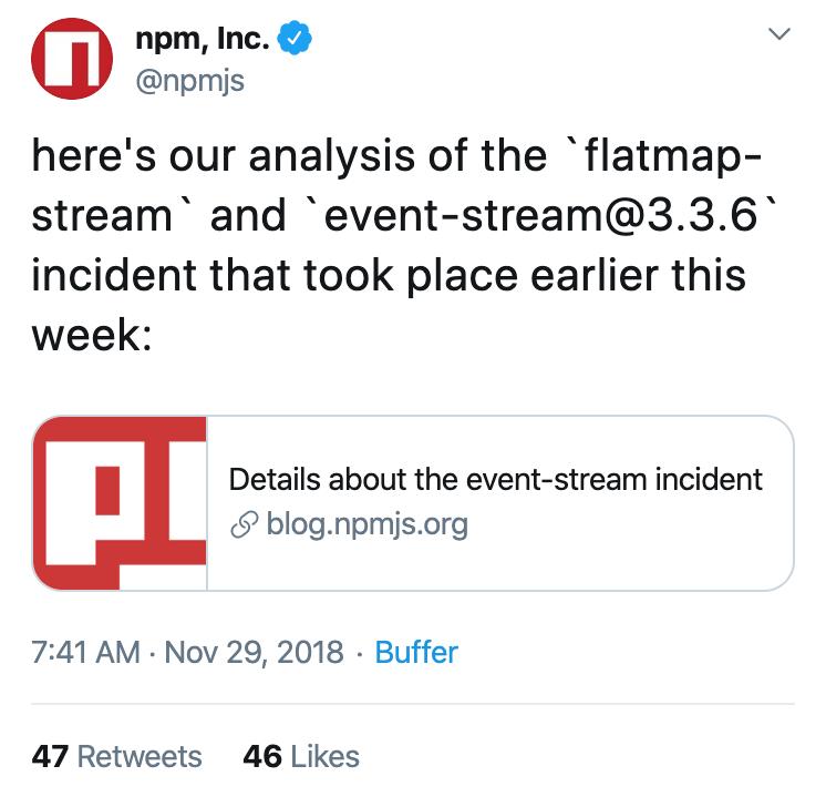 @npmjs's tweet on November 29, 2018