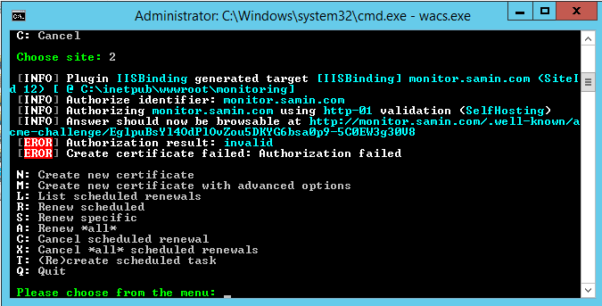 Authorization Result: invalid · Issue #358 · PKISharp/win-acme · GitHub