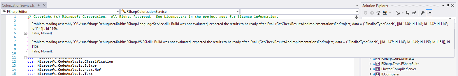 Type check fails in the IDE when referencing solution