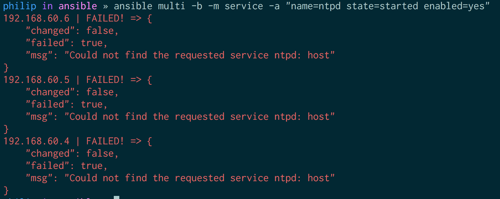 Ansible's service module failing for Ubuntu for 'ntpd' service