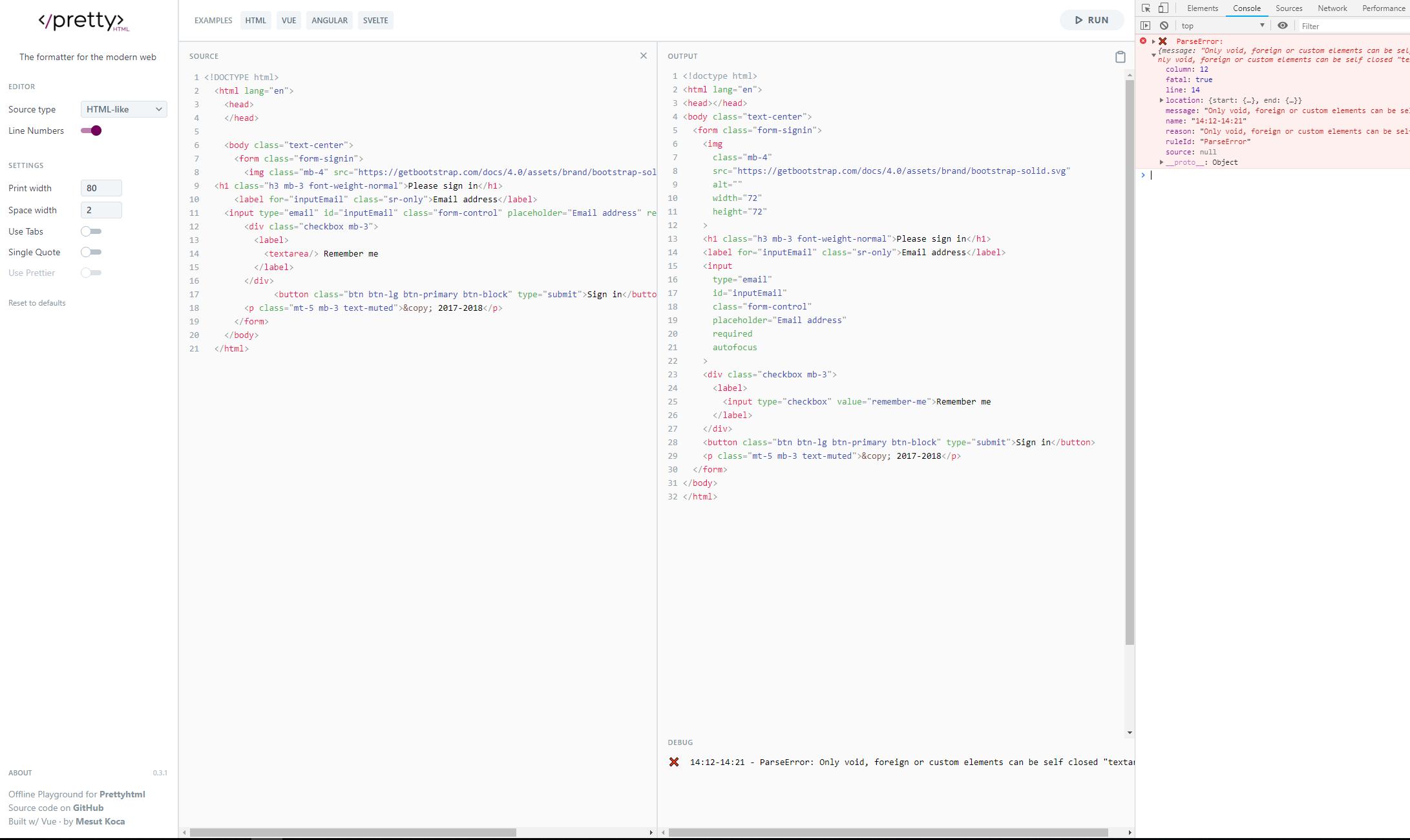 Display errors and warnings · Issue #7 · Prettyhtml/pretty-html-web