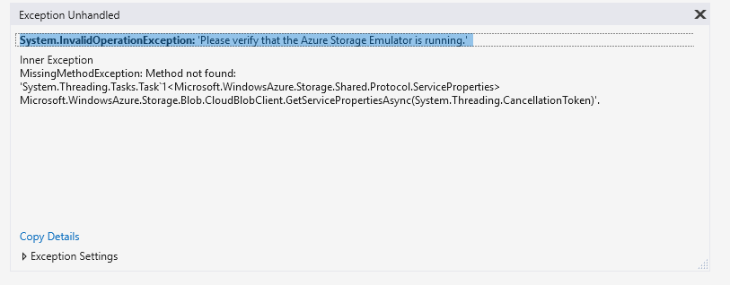 System InvalidOperationException: 'Please verify that the Azure