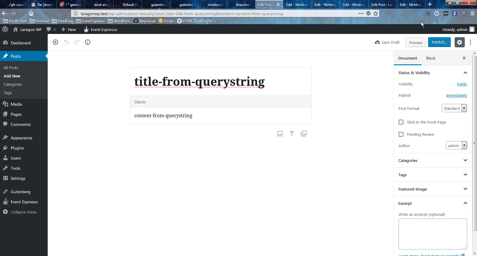 gutenberg defaults from querystring