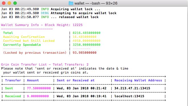 Add 'sent' to wallet info output · Issue #288 · mimblewimble
