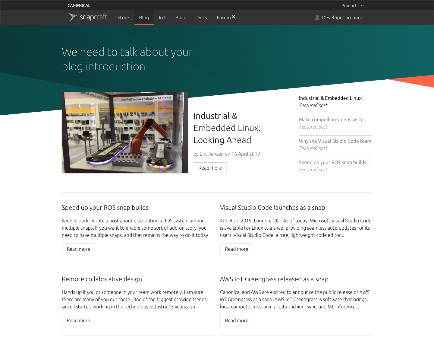 Featured posts · Issue #1832 · canonical-web-and-design