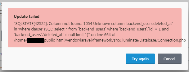 Backend Users deleted_at column migration not running on