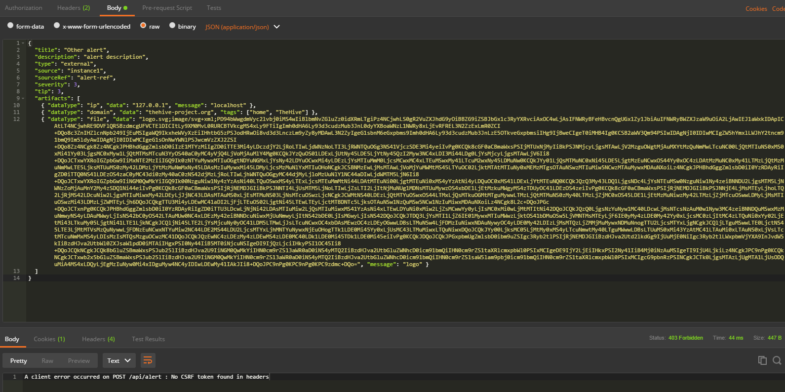 Using Postman to test the API, getting