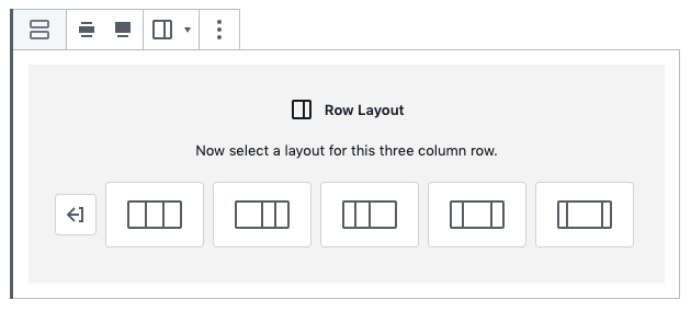 The 'Row Layout' tool in WordPress' block editor