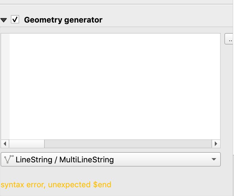 Syntax error new label geometry generator widget on macOS