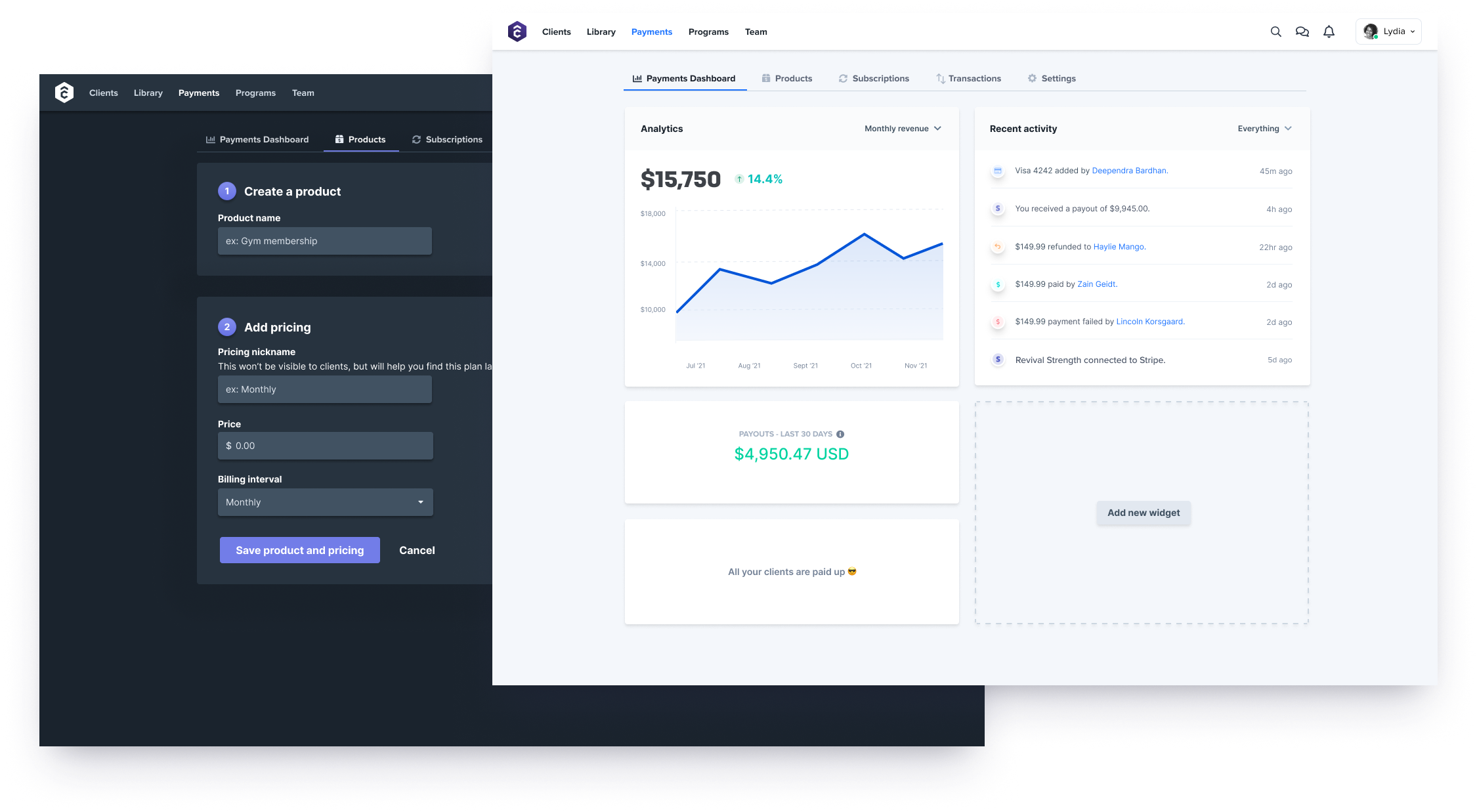 TrueCoach payments dashboard and product creation views