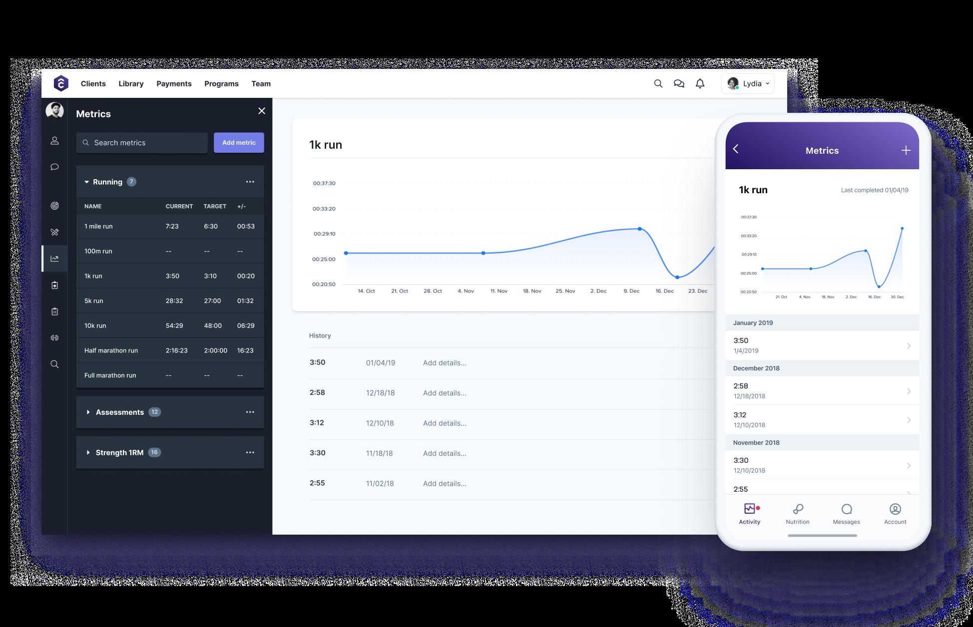 TrueCoach metrics progression tools