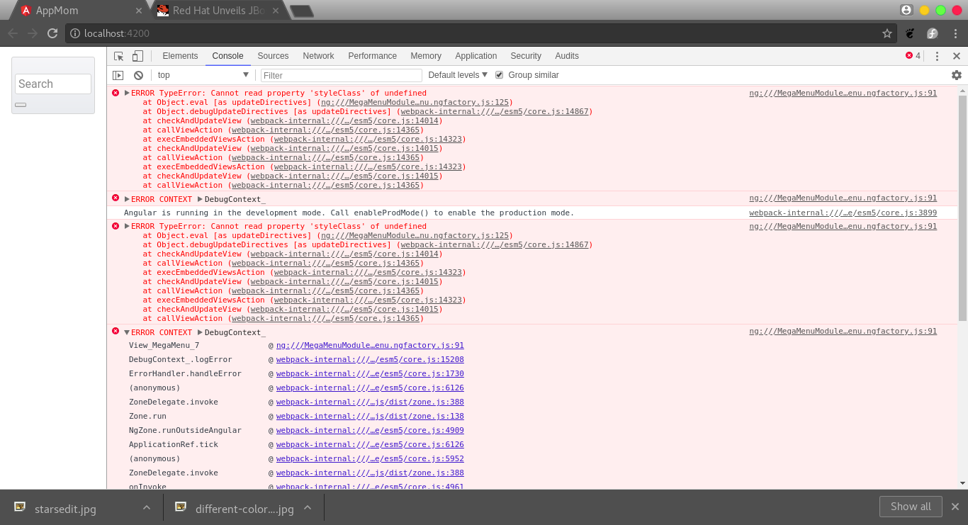MegaMenuModule component : ERROR TypeError: Cannot read property