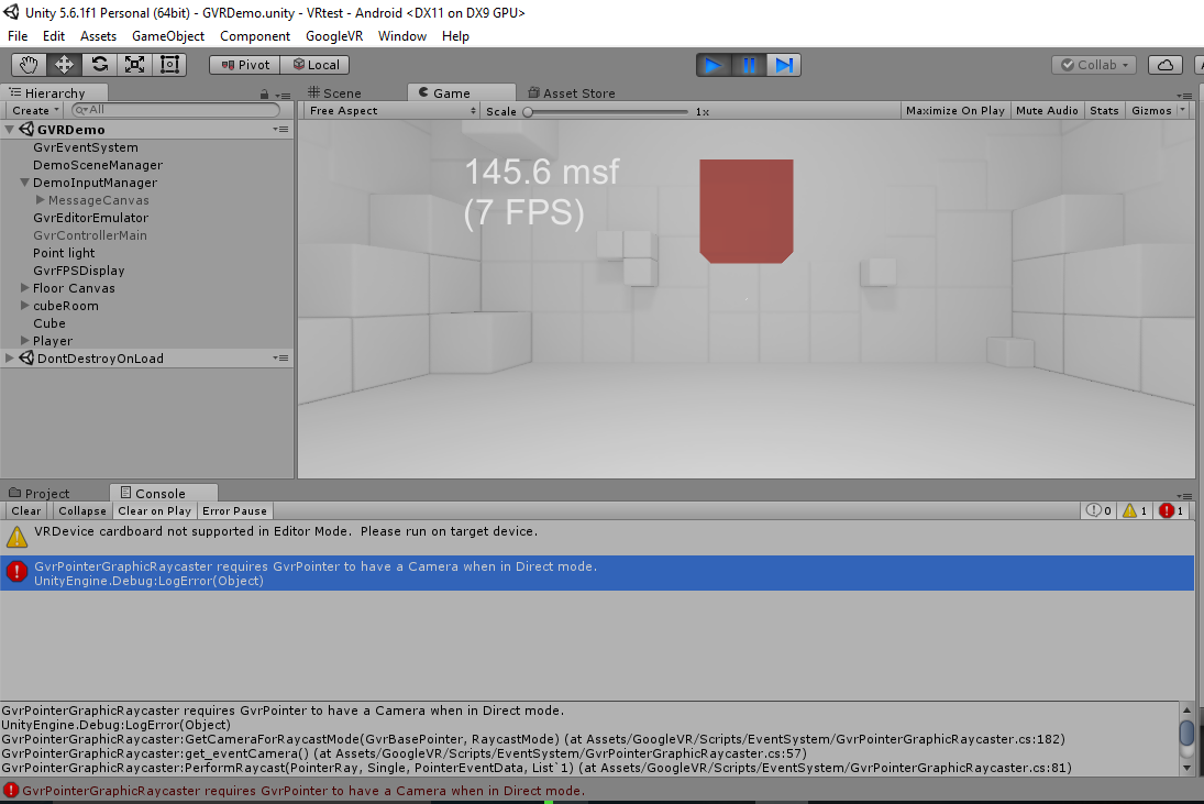 GvrPointerGraphicRaycaster requires GvrPointer to have a Camera when