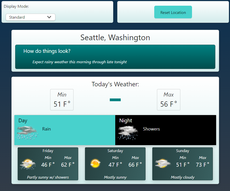 Screenshot of this app, in the default display mode, showing today's weather and a short forecast for the next few