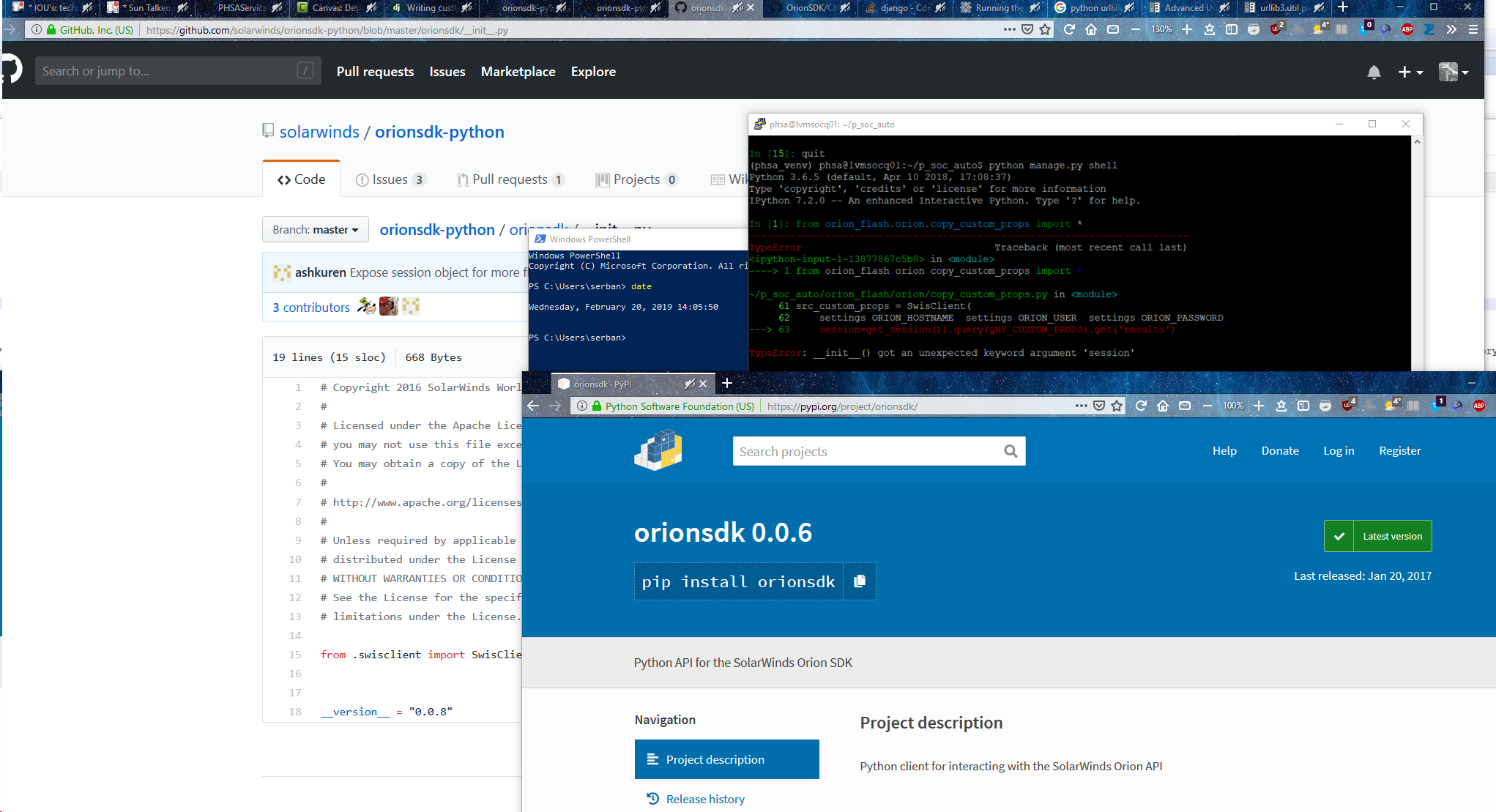 the orionsdk pypi package is at version 0 0 6 and more than