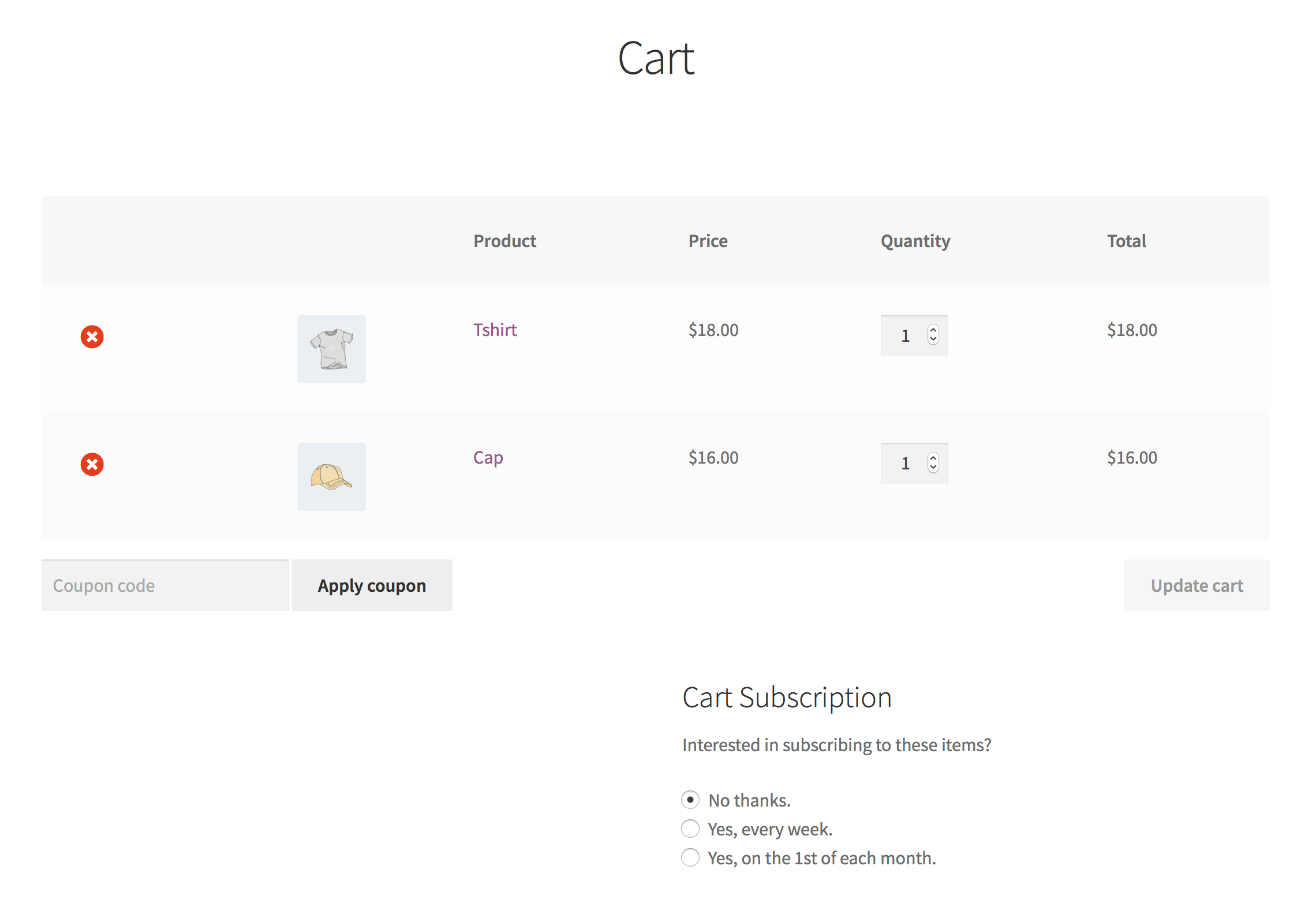 Subscription Options Offered in the Cart