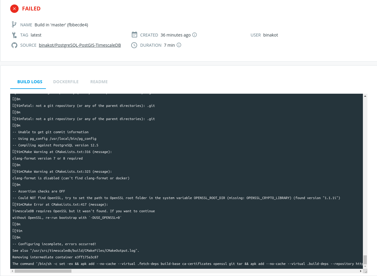 Could NOT find OpenSSL while build an image on Docker Hub · Issue ...