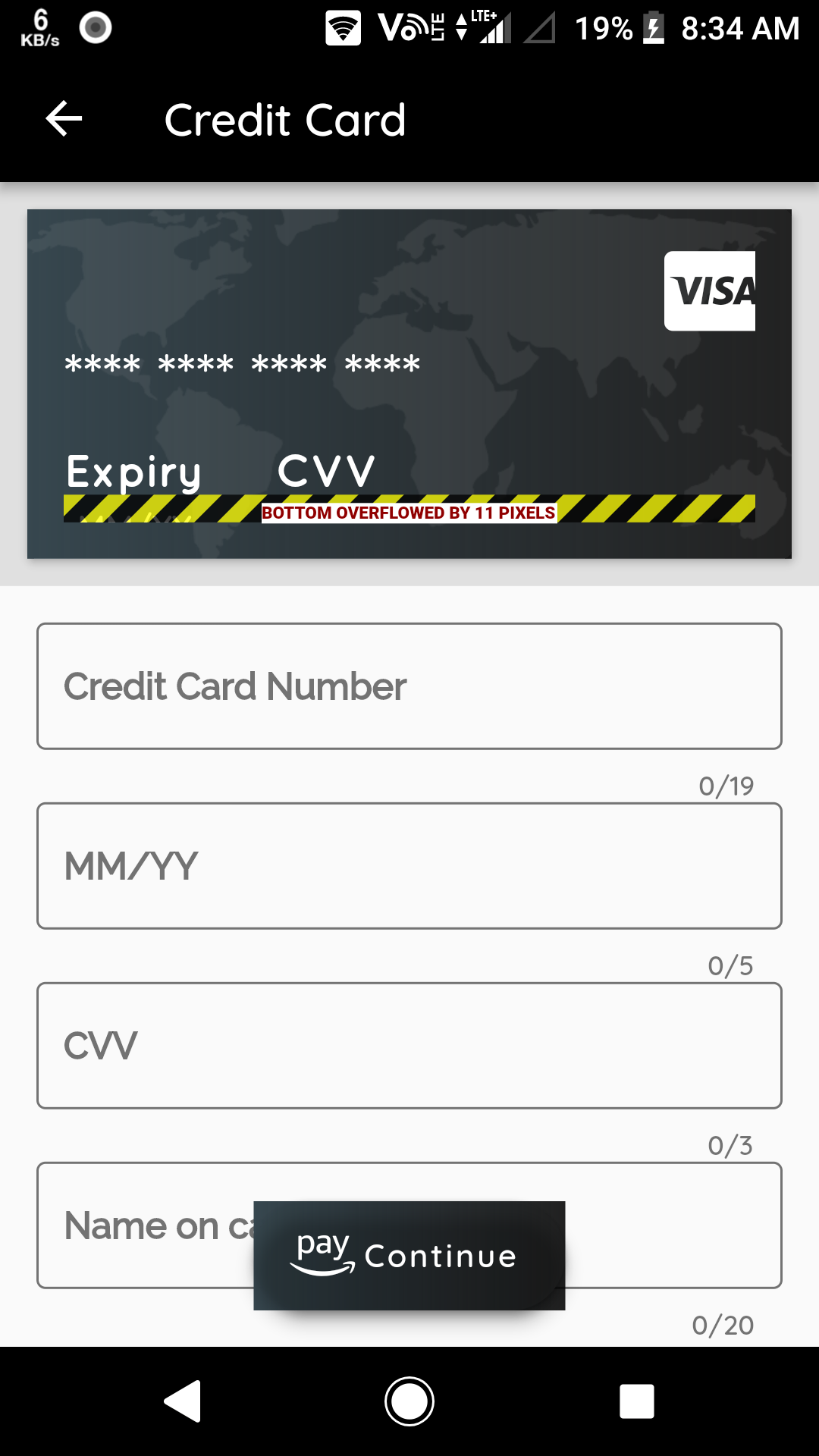 text widgets overflowing from credit card in credit card
