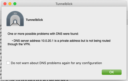 Warning: DNS server address client_dns_server is a private