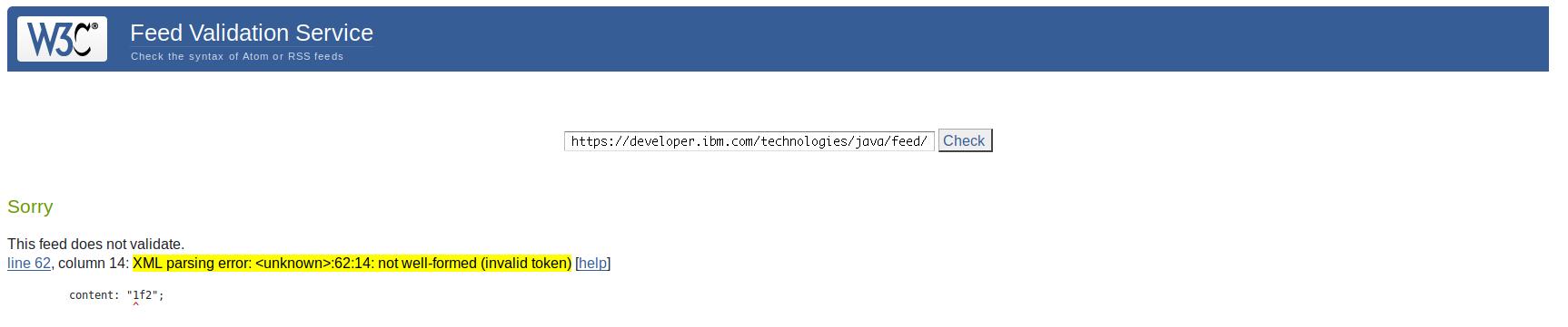 Invalid token in RSS feeds · Issue #32 · IBM/developer · GitHub