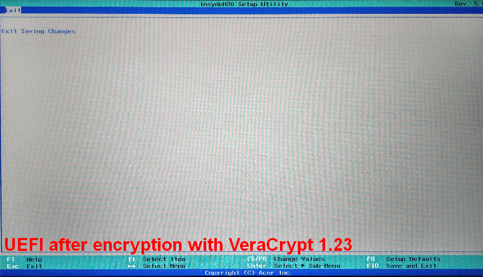 UEFI + Win10Home + VeraCrypt 1 23: UEFI does not offer any options