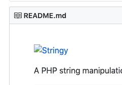 Screenshot of Stringy README showing broken image