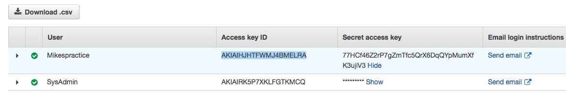 access secret keys