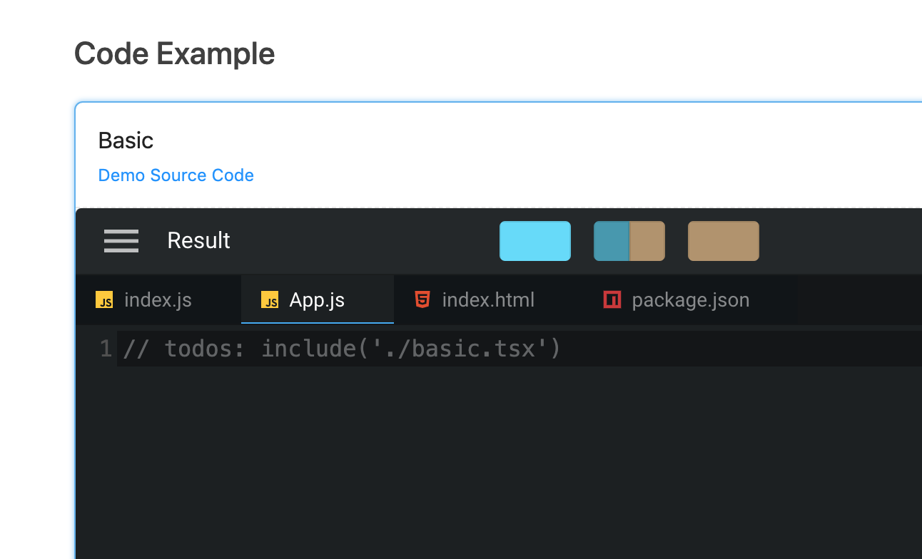 Missing codesandbox example for Result component · Issue