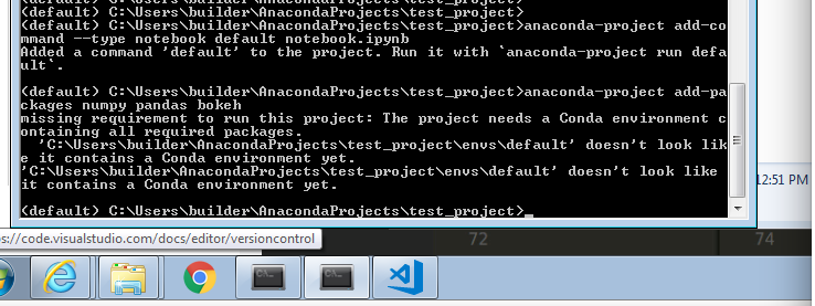 anaconda-project add-packages on windows 7 not working
