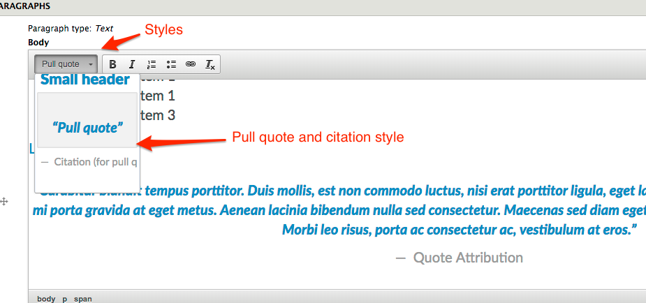 Bene: Attribution on quotes within text paragraph · Issue