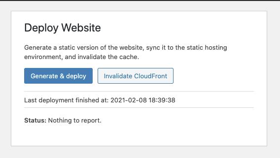 Screenshot of Simply Static Deploy plugin interface for WordPress