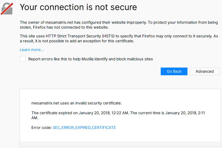 Https Error On Mesamatrix Due To Expired Certificate Issue