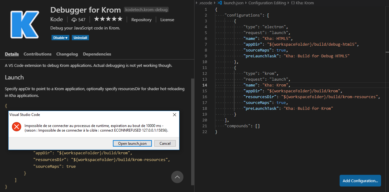 Cannot use the debugger with Krom · Issue #3 · Deprecated-Kode
